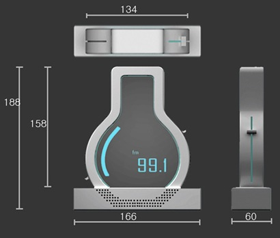 Design radio bolam temperatur nuansa cahaya